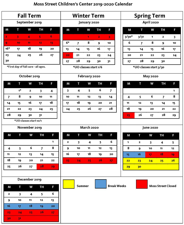 Moss Street 2019-20 Calendar