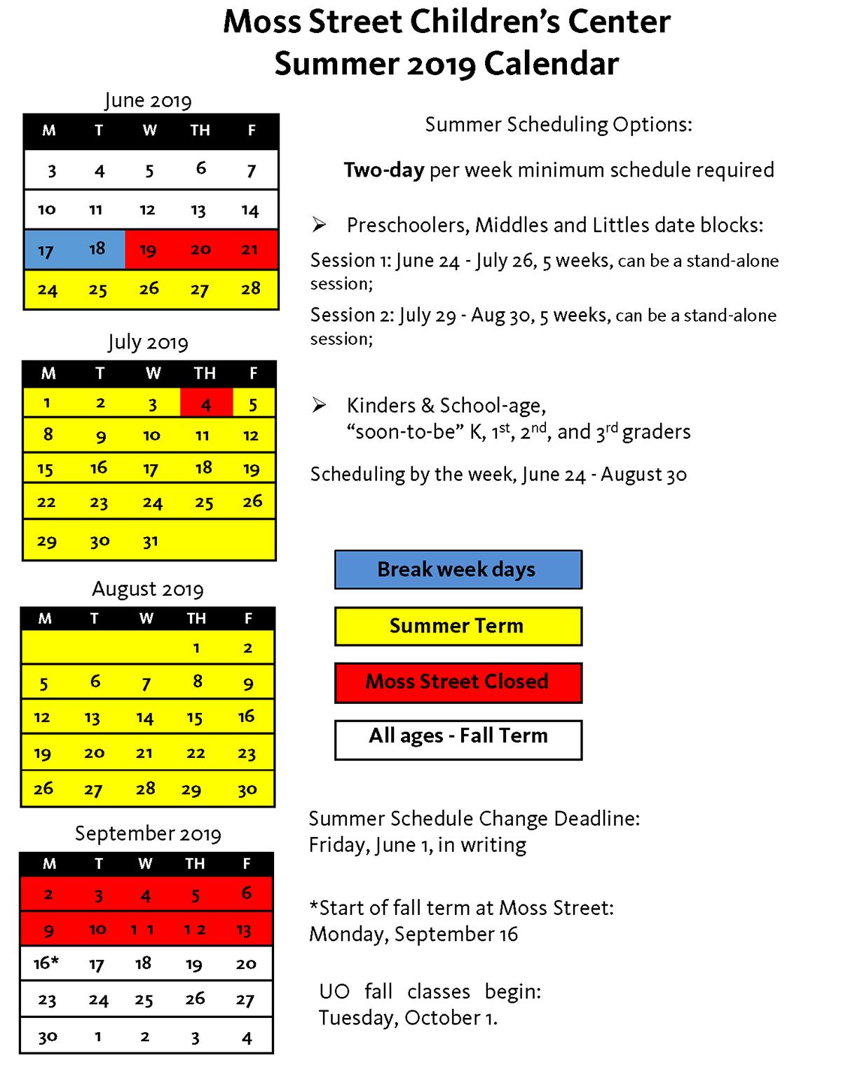 Moss Street Summer 2019 Calendar
