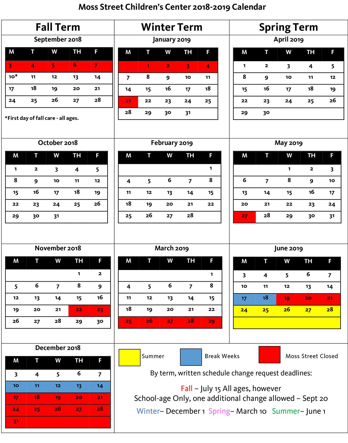 Moss Street Calendar for 2018-2019